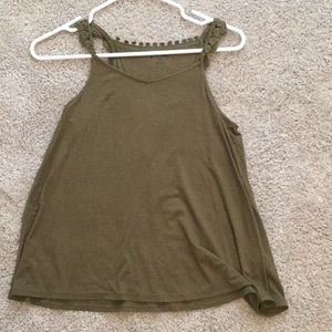 Army green lace back tank top